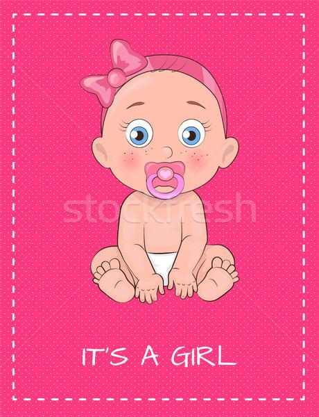 Ragazza poster dedito baby doccia giorno Foto d'archivio © robuart