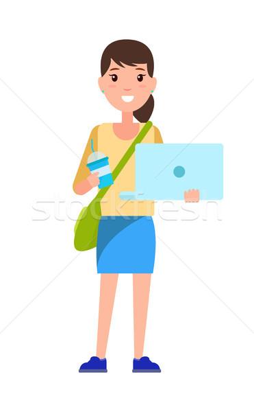 Elegancki uczennica torebka ramię student niebieski Zdjęcia stock © robuart