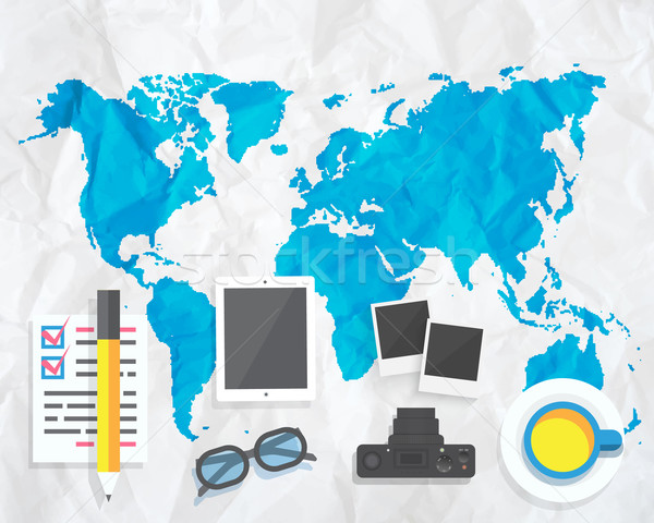 Creative map with camera glasses photos Stock photo © robuart