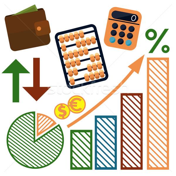 Geld Finanzierung Banking Set Symbole Stock foto © robuart