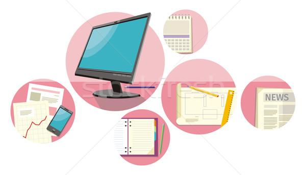 Stock fotó: Felső · kilátás · számítógép · papírok · számok · táblázatok