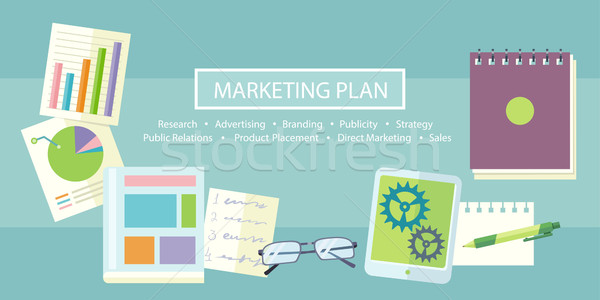 Marketing plan notebook tekst onderzoek reclame Stockfoto © robuart