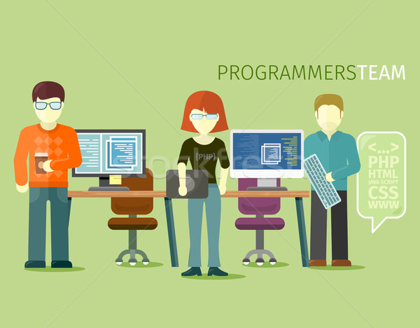 Programmers Team People Group Flat Style Stock photo © robuart