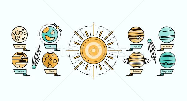 Sistemul solar icoană proiect stil pământ planetă Imagine de stoc © robuart