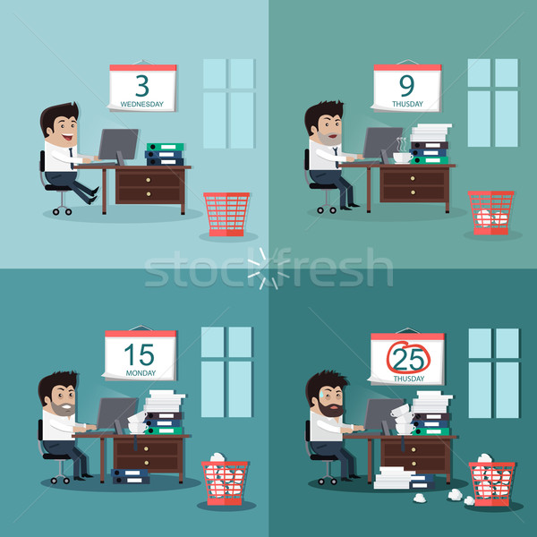 Stock photo: Deadline Design Concept Flat Interior Man