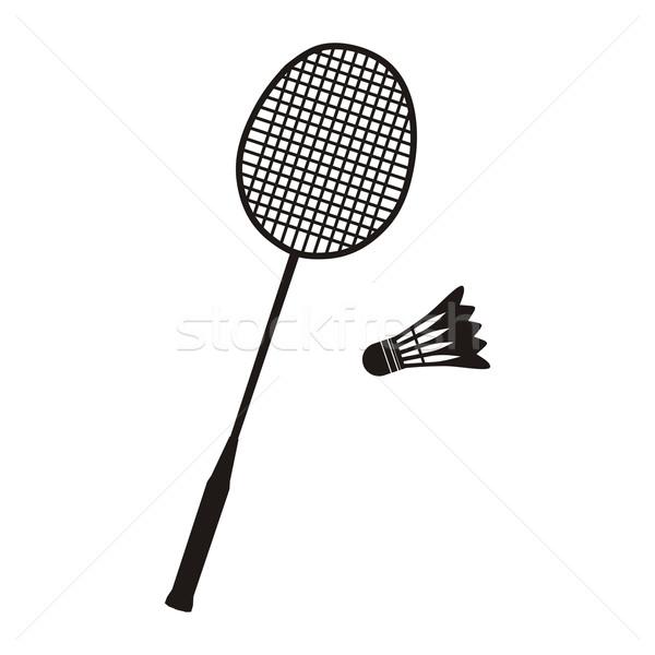 Badminton ikona czarno białe sportu lata Zdjęcia stock © robuart