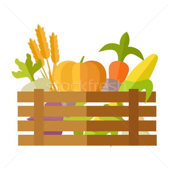 Friss zöldségek piac illusztráció vektor terv házhozszállítás Stock fotó © robuart