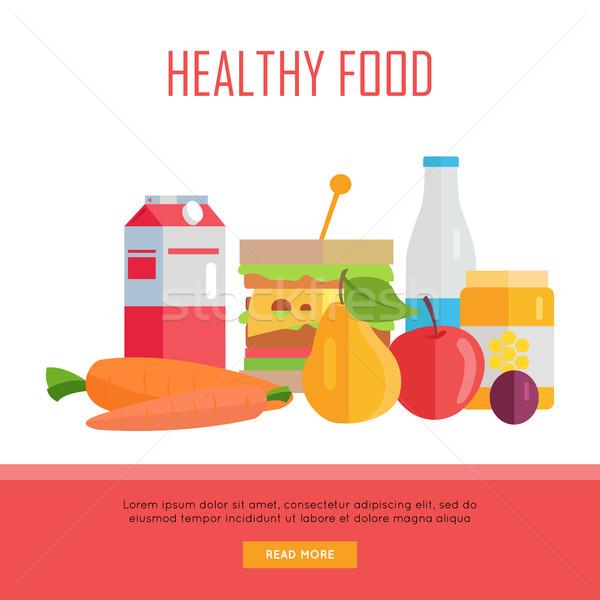 Egészséges étel háló szalag illusztráció vektor terv Stock fotó © robuart