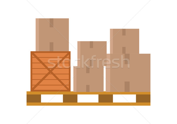 Worldwide Warehouse Deliver. Pallet with boxes Stock photo © robuart