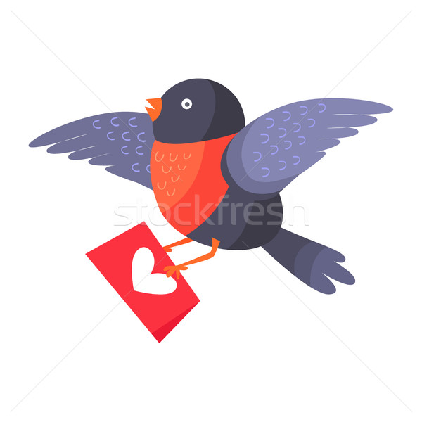 Bullfinch Bird with Red Chest Hold Love Envelope Stock photo © robuart