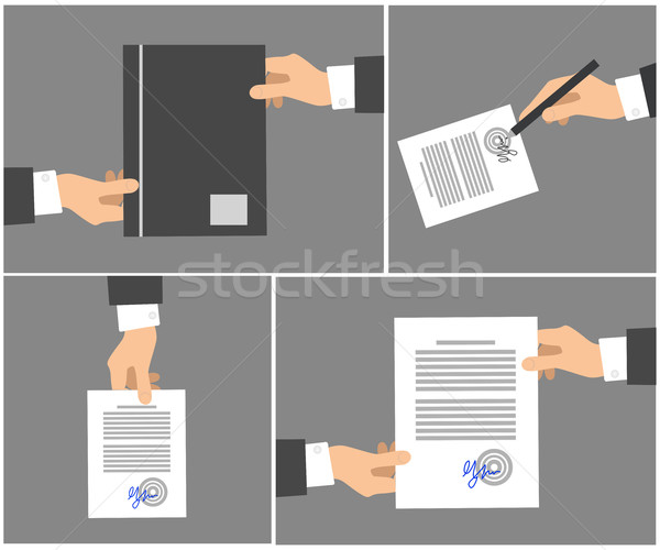 Signing Contract Stages Picture Collection on Grey Stock photo © robuart