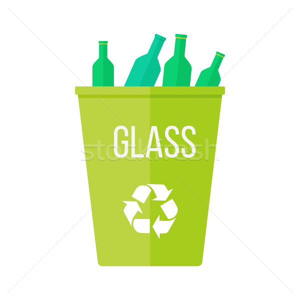 Green Recycle Garbage Bin with Glass Stock photo © robuart