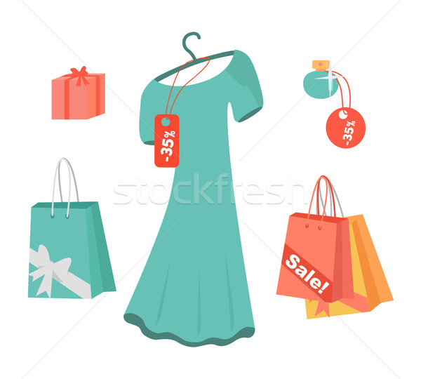Party Dresses, Accessory, Perfumes on Sale. Vector Stock photo © robuart
