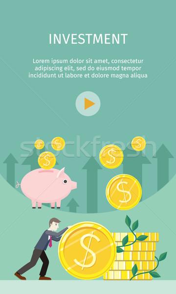 Investitionen Stil Vektor lächelnd Geschäftsmann Rollen Stock foto © robuart