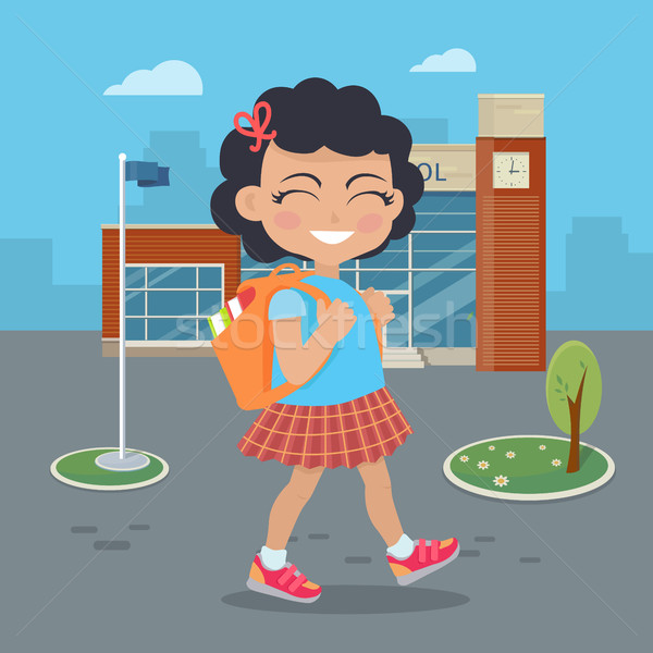 Girl Going in for School with Rucksack Stock photo © robuart