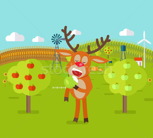 Deer in Garden Eats Apple. Cute Reindeer Snack. Stock photo © robuart