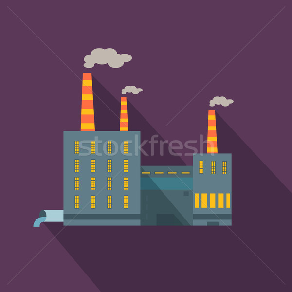 Factory with Long Shadow in Flat Style. Manufacturer Stock photo © robuart