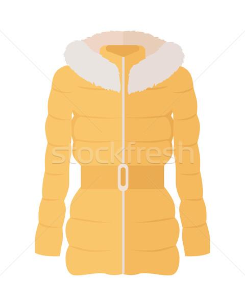 女子 下 夾克 風格 黃色 毛皮 商業照片 © robuart