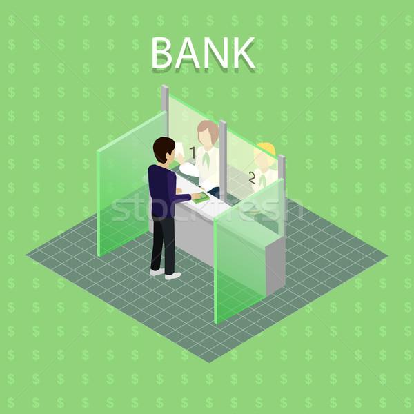 банка интерьер кассир изометрический люди Финансы Сток-фото © robuart