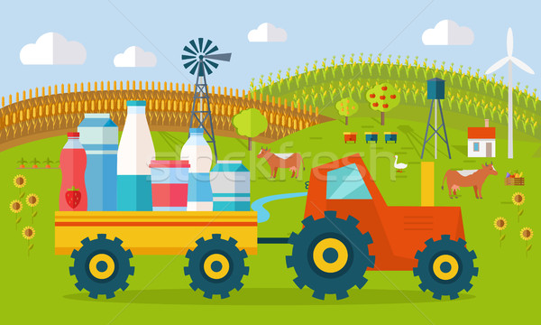 Milk Eco Farm Concept Vector in Flat Style Design Stock photo © robuart