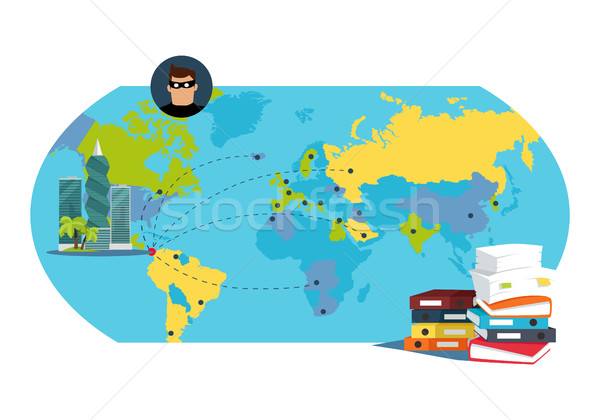 Documentos documentos mapa do mundo internacional financeiro Foto stock © robuart