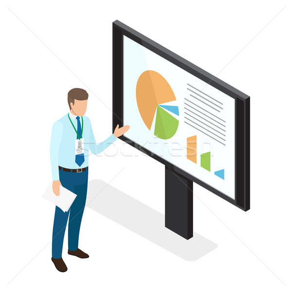 Young Businessman Showing Diagrams on Monitor Stock photo © robuart
