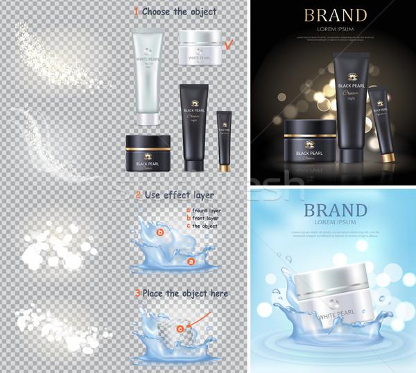 Black and White Pearl Cream illustrations Set Stock photo © robuart