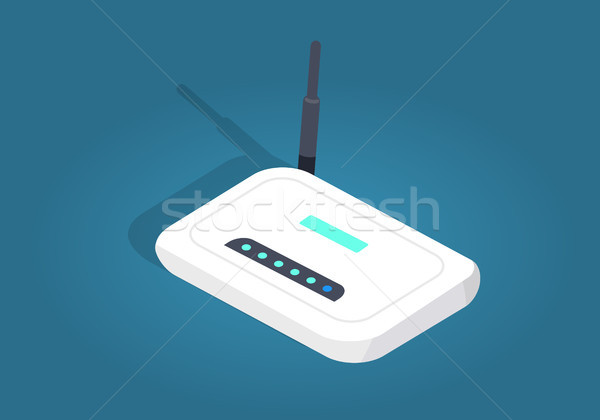 White Realisti Wireless Wi-fi Router with Antenna Stock photo © robuart