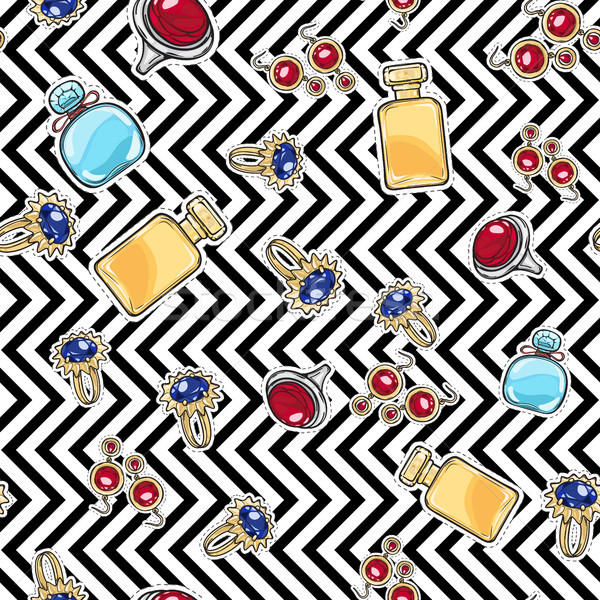 Jewelry for Women. Elite Perfume. Seamless Pattern Stock photo © robuart