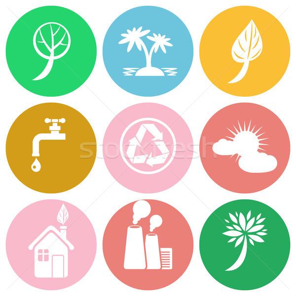 Ecology Themed Round Colorful Isolated Icons Set Stock photo © robuart