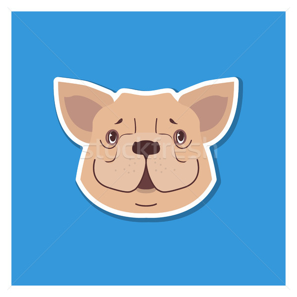 Canine Smiling Face of French Bulldog Drawn Icon Stock photo © robuart