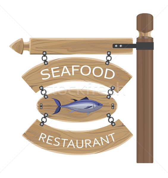 Restaurant Seafood Advertisement on Wooden Boards Stock photo © robuart