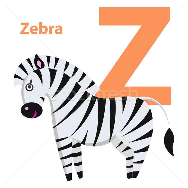оранжевый характер слово зебры алфавит карт Сток-фото © robuart