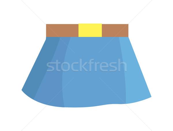 Niebieski spódnica brązowy pasa biały Zdjęcia stock © robuart
