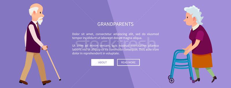Stock photo: Grandparents Web Banner with Grandpa and Grandma