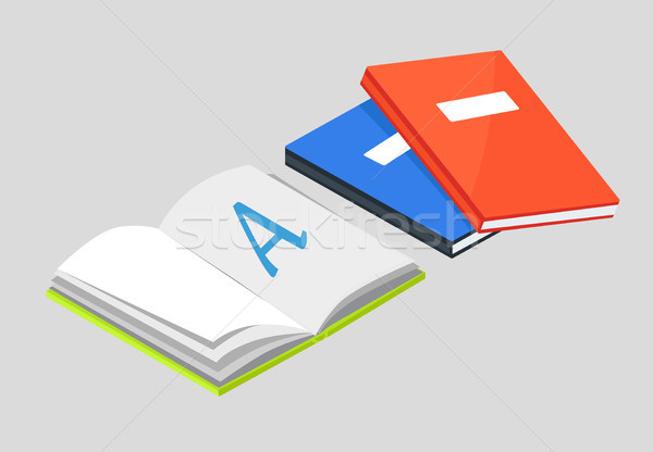 Open Book with Letter A Vector and Textbooks Stock photo © robuart