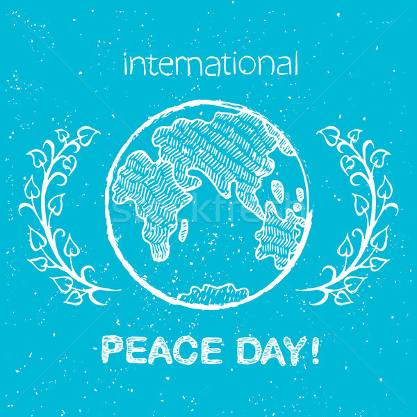 Peace Day International Holiday Poster with Earth Stock photo © robuart