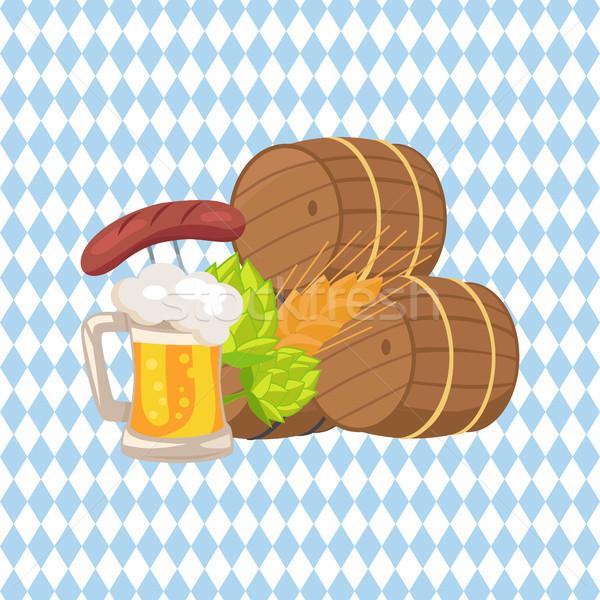 üç bira vektör örnek ahşap Stok fotoğraf © robuart