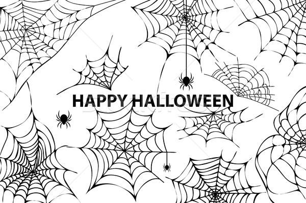 Boldog halloween pókháló pókok kép kút Stock fotó © robuart