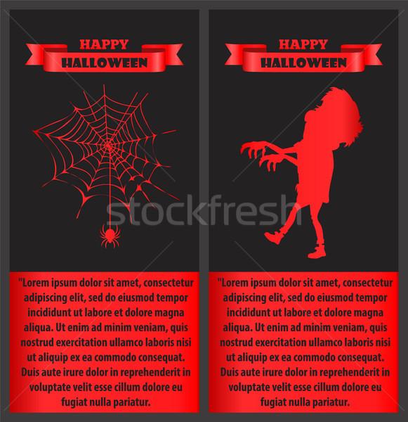 Happy Halloween with Text Vector Illustration Stock photo © robuart