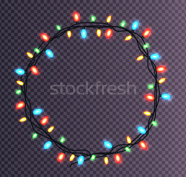 Colorful round Frame of Christmas Lights Sparkling Stock photo © robuart