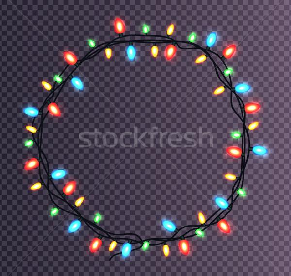 Colorato frame Natale luci frizzante decorativo Foto d'archivio © robuart