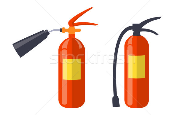Two Red Extinguishers Isolated on White Poster Stock photo © robuart