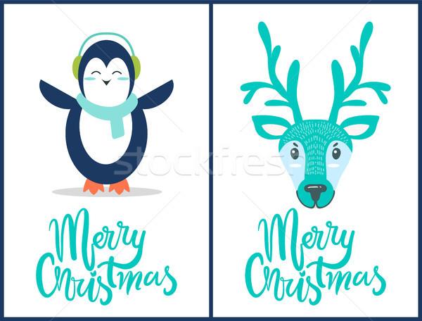 Neşeli Noel penguen geyik simgeler mavi Stok fotoğraf © robuart