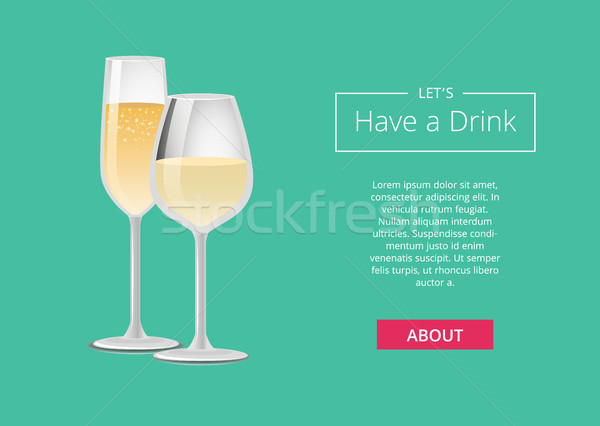Lets Have Drink Champagne Advertisement Web Poster Stock photo © robuart