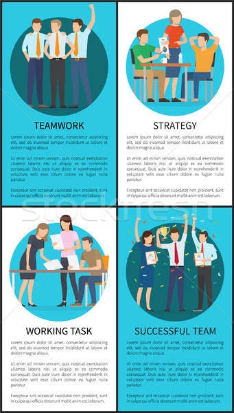 Teamwork and Strategy Set Vector Illustration Stock photo © robuart