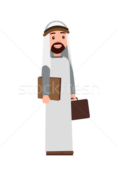 Muslim Man Holding Briefcase Vector Illustration Stock photo © robuart
