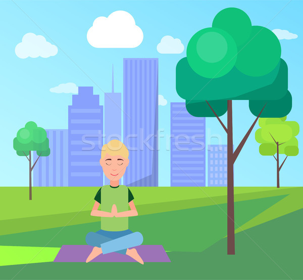 Man and Meditation at Park Vector Illustration Stock photo © robuart