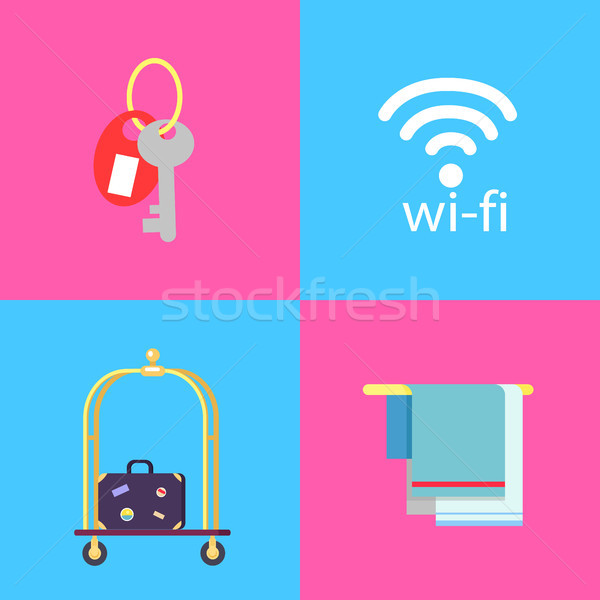 Hotel Conveniences Themed Isolated Illustrations Stock photo © robuart
