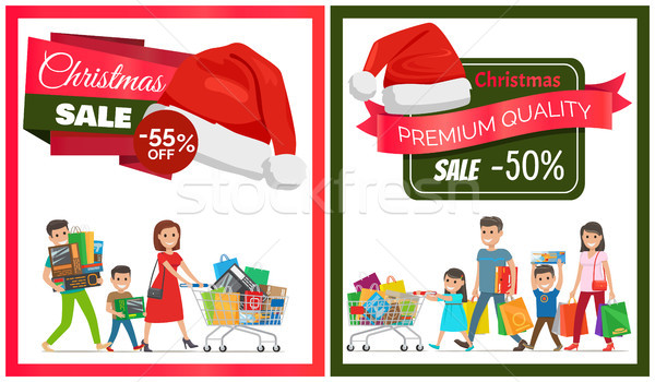 Pair of Christmas Sale Cards Vector Illustration Stock photo © robuart